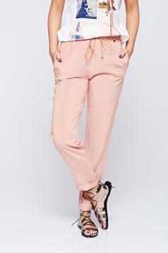 Rózsaszínű PrettyGirl zsebes hétköznapi nadrág lenge anyagból