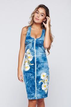 Kék hétköznapi Ocassion hímzett ruha