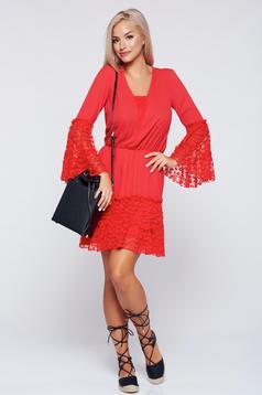 Piros PrettyGirl pamutból készült ruha csipke díszítéssel
