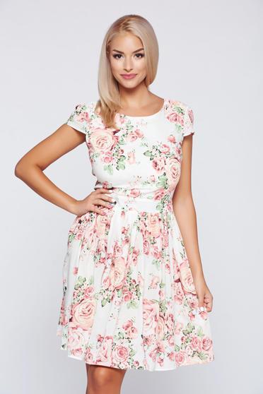 Rózsaszínű PrettyGirl pamutból készült harang alakú ruha teljesen kivágott hátrésszel