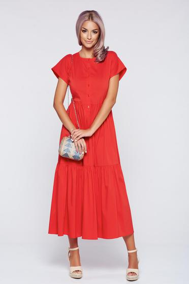 Korall PrettyGirl hétköznapi derékban rugalmas harang alakú ruha