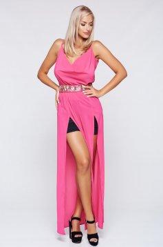 Pink StarShinerS strandruha fátyol anyagból dekoltázzsal