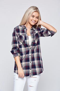 Sötétkék Top Secret hétköznapi pamutból készült kockás női ing