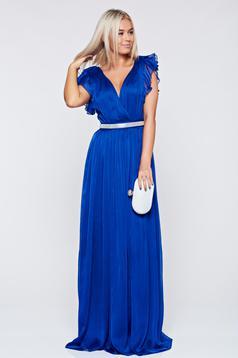 Kék Artista alkalmi ruha fodrozott ujjakkal
