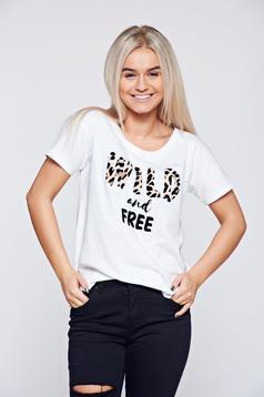 Fehér Top Secret póló hétköznapi pamutból készült feliratos