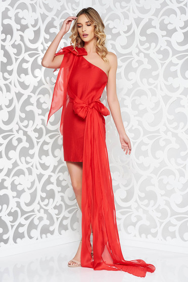 Piros Ana Radu alkalmi rövid ruha enyhén rugalmas anyag ujjatlan fazon a95cdaa39e