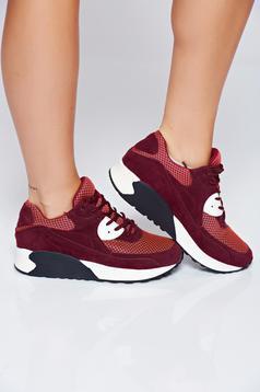 Burgundy Top Secret sport cipő hétköznapi fűzővel köthető meg