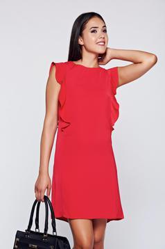 Piros Top Secret ruha elegáns fodrozott ujjakkal bő szabású