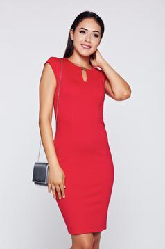 Piros Top Secret ruha ceruza fémes kiegészítő elegáns