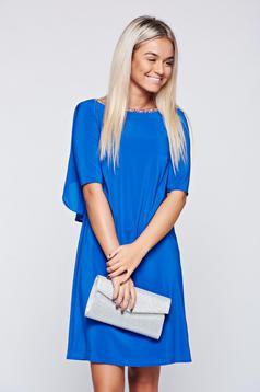 Kék StarShinerS elegáns ruha fátyol anyagbóp kivágott hátrésszel