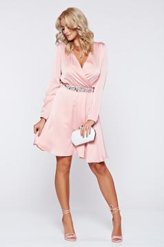 Pink StarShinerS hosszú ujjú alkalmi ruha strassz köves díszítéssel