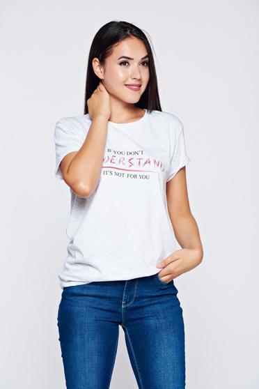 Szürke Top Secret póló hétköznapi nyomtatott mintával