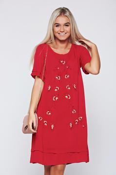 Piros Top Secret pamutból készült hímzett bő szabású ruha