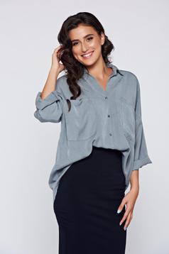 Szürke bő szabás női ing lenge anyagból