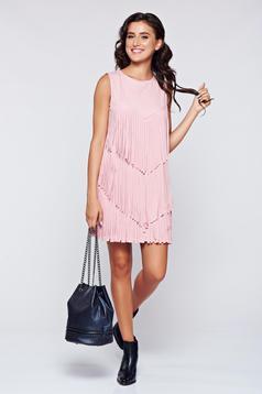 Rózsaszínű ruha velúrból rojtos ujj nélküli