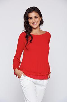 Piros női blúz elegáns belső béléssel lenge anyagból