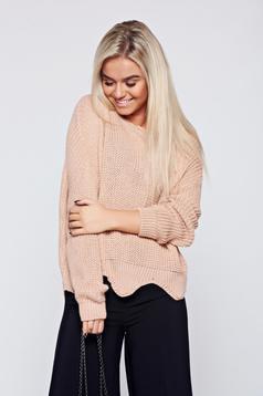 Rózsaszínű pulóver hétköznapi kötött kivágott szegély