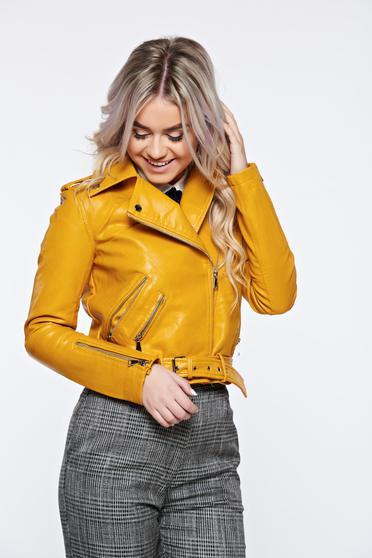 Sárga hétköznapi műbőr dzseki cipzáros zsebek