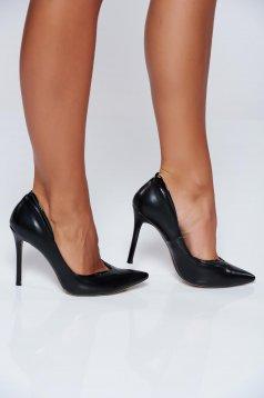Fekete stiletto irodai magassarkú cipő műbőr