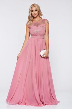 Rózsaszínű alkalmi hímzett ruha fátyol anyagból