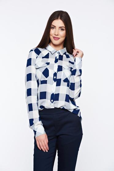 Kék Top Secret hétköznapi bő szabás női ing elől zsebekkel