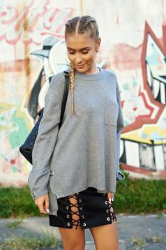 Hétköznapi kötött bő szabás szürke pulóver