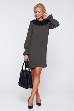 Sötétzöld LaDonna elegáns bő szabású ruha eltávolítható gallér