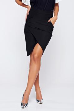 Fekete LaDonna átfedéses zsebes irodai szoknya