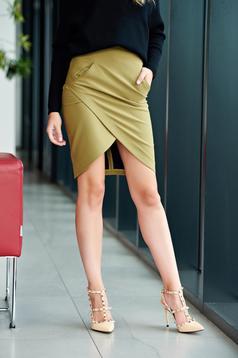 Zöld LaDonna átfedéses zsebes irodai szoknya