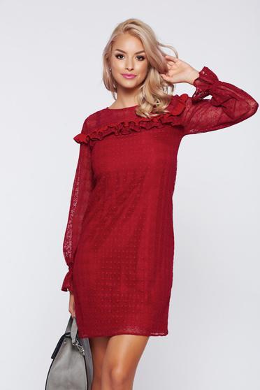 Burgundy LaDonna elegáns fodros ruha csipkés anyagból