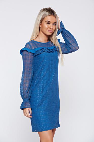 Kék LaDonna elegáns fodros ruha csipkés anyagból
