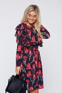Fekete LaDonna bő szabású hétköznapi virágmintás ruha