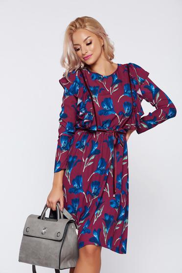 Burgundy LaDonna bő szabású hétköznapi virágmintás ruha