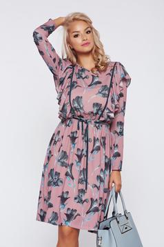 Krém LaDonna bő szabású hétköznapi virágmintás ruha