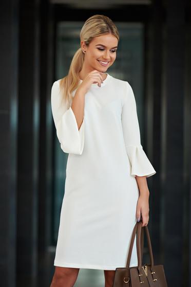Fehér StarShinerS bő szabású irodai ruha harang ujjakkal