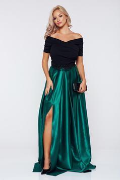 Zöld Artista alkalmi ruha hímzett betétekkel szatén anyagból