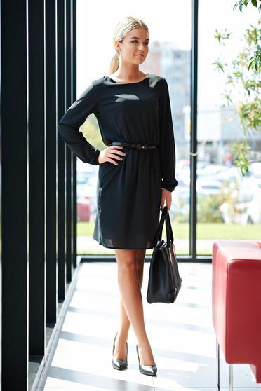 Fekete StarShinerS hétköznapi derékban rugalmas ruha fátyol anyagból