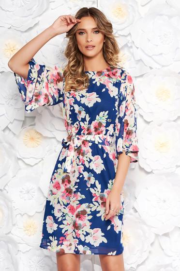 Kék StarShinerS elegáns ruha hétköznapi fátyol anyagból virágmintás díszítéssel