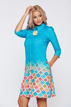 Kék Fofy ruha háromnegyedes ujjú irodai hegyes gallérral