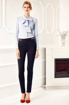 Kék Fofy pamutból készült irodai gomb nélküli női ing