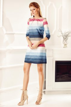 Kék Fofy háromnegyedes ujjú irodai zsebes ruha