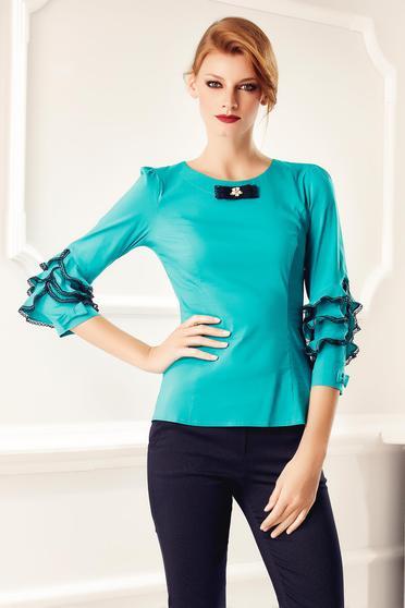 Türkiz Fofy irodai gomb nélküli női ing csipke díszítéssel