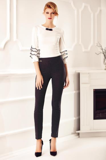 Fehér Fofy irodai gomb nélküli női ing csipke díszítéssel