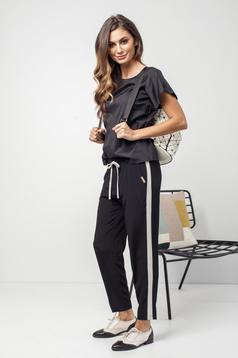 Fekete PrettyGirl hétköznapi zsebes derékban rugalmas nadrág