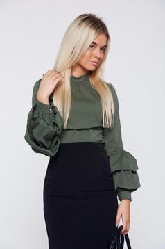 Sötétzöld LaDonna szűk szabás irodai női ing fodrozott ujjakkal