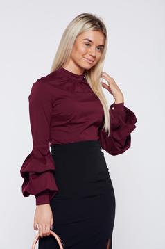 Burgundy LaDonna szűk szabás irodai női ing fodrozott ujjakkal