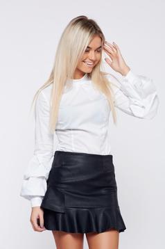 Fehér LaDonna szűk szabás irodai női ing fodrozott ujjakkal