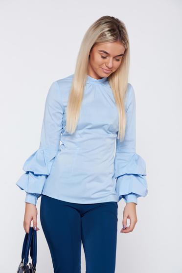 Kék LaDonna szűk szabású irodai női ing fodrozott ujjakkal