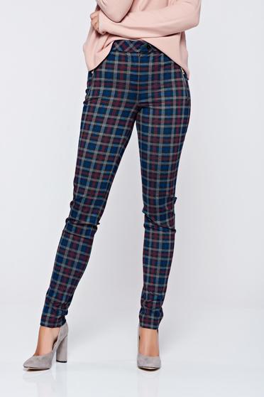Kék LaDonna irodai kónikus kockás nadrág