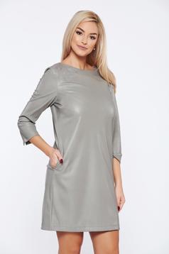 Szürke Top Secret hétköznapi műbőr bő szabású ruha